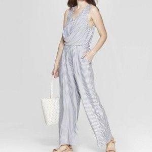 Women's Striped Sleeveless V-Neck Jumpsuit